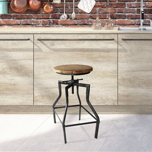 Amelia Industrial Barstool in Silver Brushed Gray with Rustic Ash. Opens flyout.