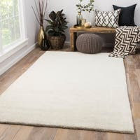 Preston Handmade Solid Ivory/ Gray Area Rug (8' X 11')