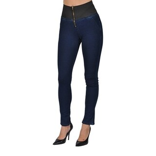 Women's Super Dark Denim Zipper Stretched High Waist Leggings