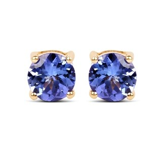 Lucia Costin Blue Tanzanite 14k Yellow Gold Stud Earrings