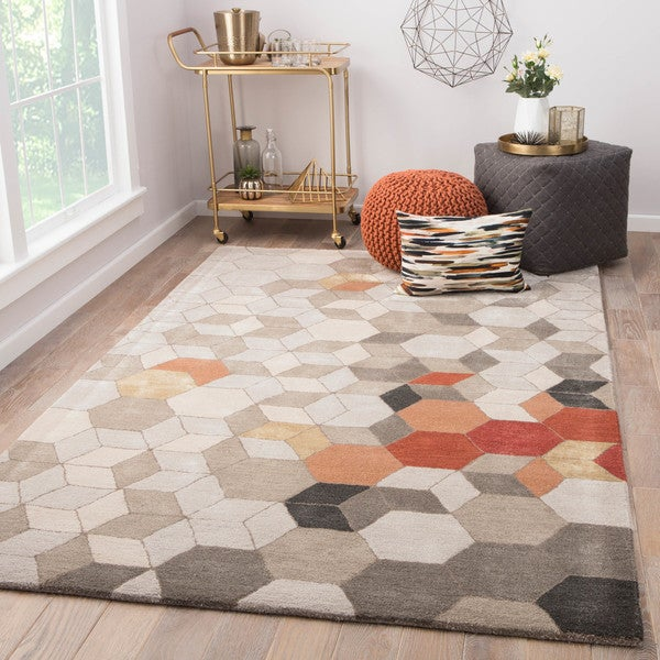"Duras Handmade Geometric Light Gray/ Orange Area Rug (8' X 11') - 7'10"" x 10'10"""