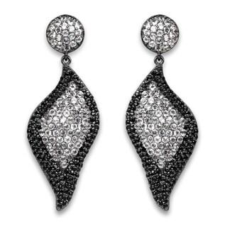 Lucia Costin Dangle White Topaz, Black Spinel Earrings
