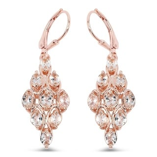 Lucia Costin Morganite Drop Earrings 18K Rose Gold Plated
