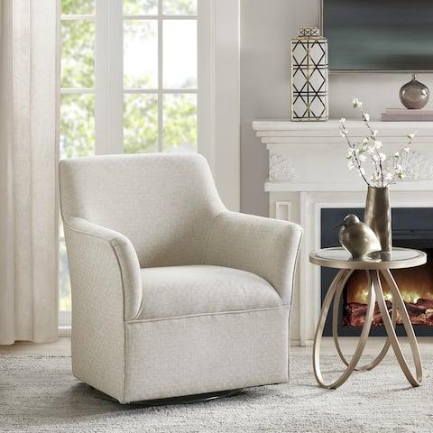 Madison Park Caddy Cream Swivel Glider Chair