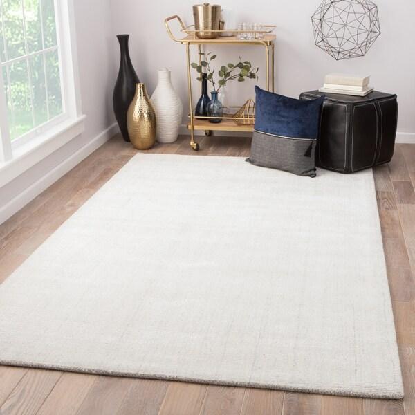 "Minke Handmade Solid White/ Gray Area Rug (8' X 10') - 7'10"" x 9'10"""