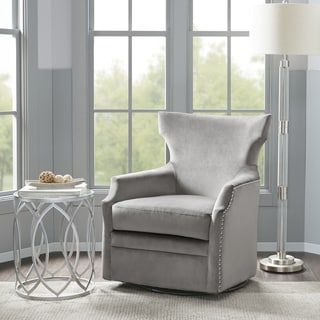 Madison Park Cordy Grey Swivel Glider Chair