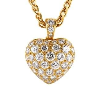 Cartier Yellow Gold Diamond Pave Heart Pendant Necklace