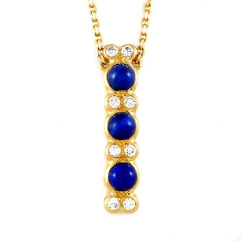 Chaumet Women's Yellow Gold Diamond & Lapis Pendant Necklace