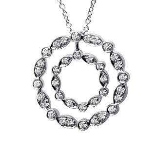 Pre-Owned Tiffany & Co. Women's Platinum & Diamond Double Circle Pendant Necklace