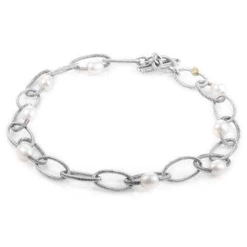 Judith Ripka Silver and Yellow Gold Diamond and Pearl Link Necklace