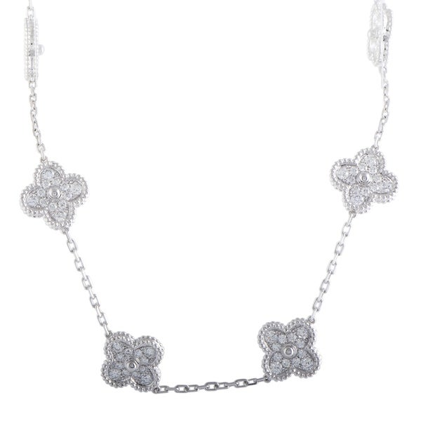 604f58ae2cce Van Cleef  amp  Arpels Vintage Alhambra White Gold Diamond Pave 10 Motif  Necklace
