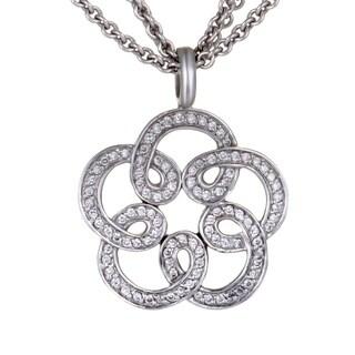 Tous White Gold Diamond Pave Flower Pendant Necklace