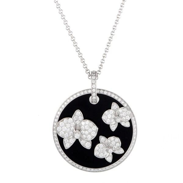 b67440abf79d6 Shop Cartier Caresse d'Orchidées White Gold Diamond and Onyx Round ...