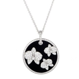Cartier Caresse d'Orchidées White Gold Diamond and Onyx Round Pendant Necklace