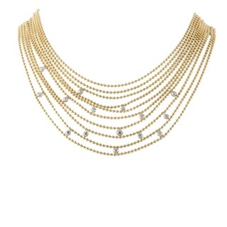 Draperie de Decolette Yellow and White Gold Diamond Multi-Strand Necklace