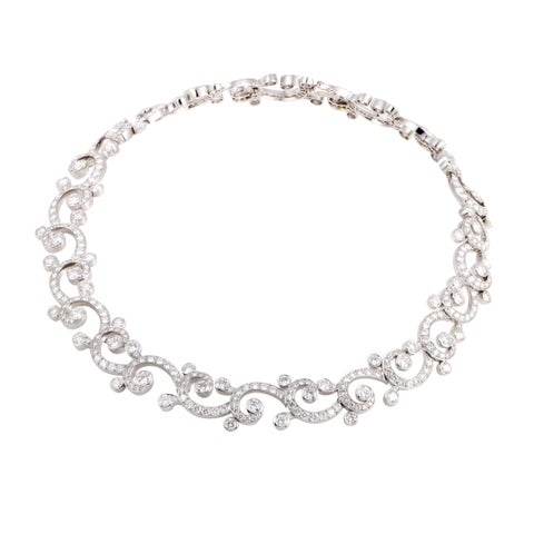 Dentelle Womens Platinum Full Diamond Pave Collar Necklace