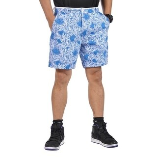 Mens All Cotton Reversible Walking Shorts Light Blue and Paisley Blue