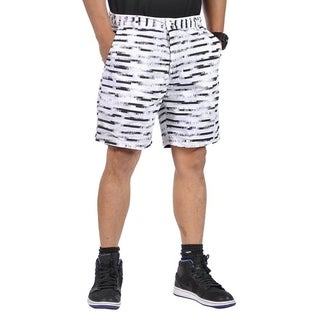 Mens All Cotton Flat Front Reversible Walking Shorts Black and White