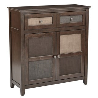 Bramley Hall Storage Cabinet in Cabernet Wood Finish and Assorted Fabric Front
