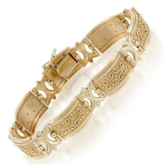 Womens Carved Yellow Gold Bracelet