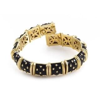 Hidalgo Yellow Gold Flexible Black Enamel Bracelet
