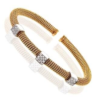 Italian Collection Multi-Tone Gold Diamond Pave Bangle Bracelet
