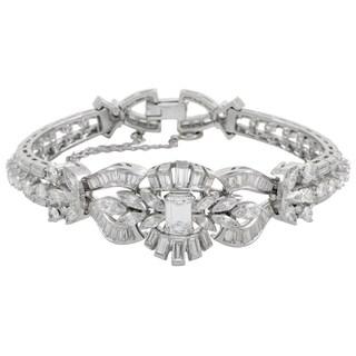 Womens Platinum Diamond Floral Bracelet