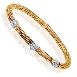 Italian Collection Multi-Tone Gold Diamond Pave Hearts Bangle Bracelet