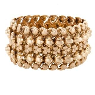 Vintage Womens Rose Gold Floral Bracelet