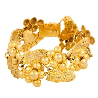 Yellow Gold Diamond Grapes and Leaves Bracelet