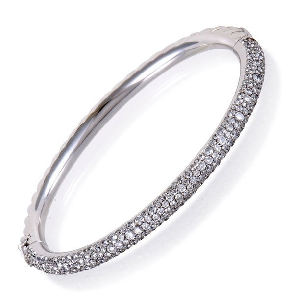 David Yurman Limited Edition White Gold Diamond Pave Cable Bangle Bracelet