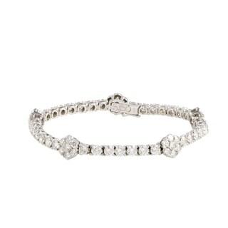 Van Cleef & Arpels Fleurette White Gold Full Diamond Pave Five-Flower Bracelet