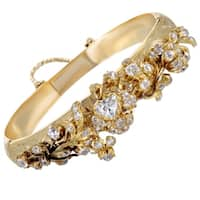 Antique 1930's Yellow Gold Floral Diamond Bangle Bracelet