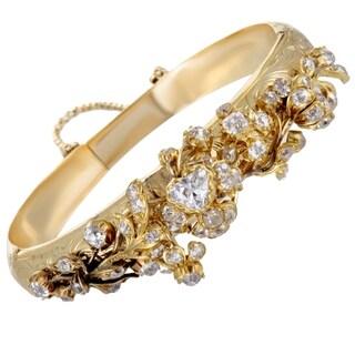 Antique 1930's Yellow Gold Floral Diamond Bangle Bracelet