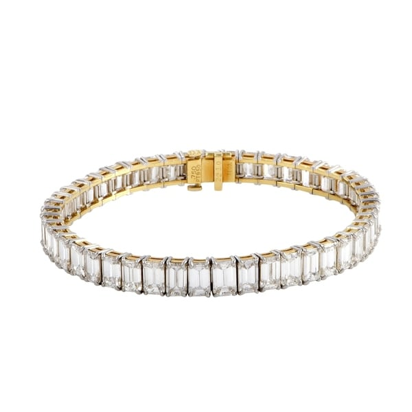 fd8f64b99 Pre-Owned Tiffany & Co. Platinum and Yellow Gold Emerald Cut Tennis  Bracelet