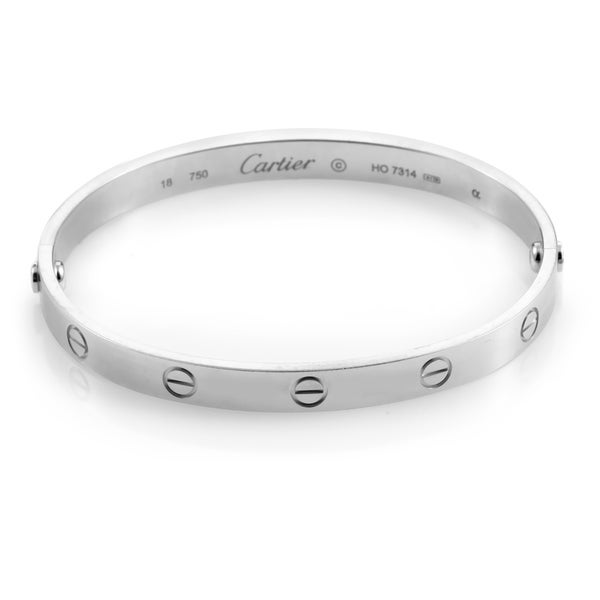 7f7ce1b1eedd7 Shop Cartier LOVE White Gold Bracelet Size 17 - Free Shipping Today ...