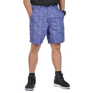 Mens Cotton Reversible Walking Shorts Royal Blue and Blossom Purple