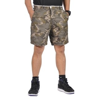 Mens All Cotton Flat Front Reversible Walking Shorts Gray and Camo