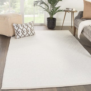 "Chiara Handmade Geometric White/ Light Gray Area Rug (8' X 11') - 7'10"" x 10'10"""
