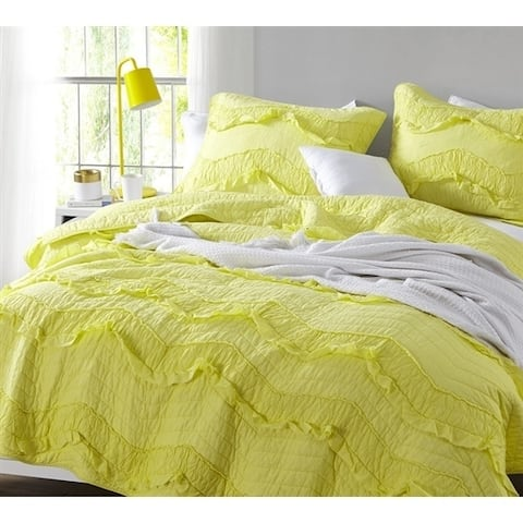 BYB Limelight Yellow Relaxin' Chevron Ruffles Quilt - Single Tone - Oversized