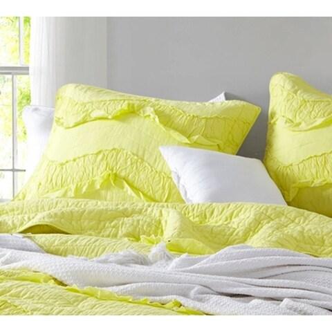 BYB Limelight Yellow Relaxin' Chevron Ruffles - Single Tone Standard Sham