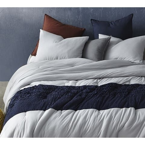 BYB Handcrafted Tundra Gray Knit with Navy Jacquard Comforter - Oversized