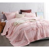 BYB Rose Quartz Relaxin' Chevron Ruffles Quilt - Single Tone - Oversized