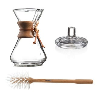 Chemex 8-Cup Classic Series Glass Coffeemaker with Cleaning Brush and Cover