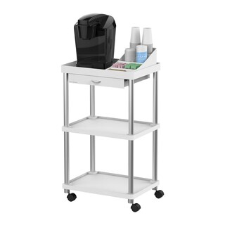 Mind Reader 'Valet' 3 Tier Rolling Coffee Cart, Free Organizer Included, White