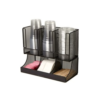 Mind Reader 'Flume' 6 Compartment Coffee Condiment and Cup Organizer, Black Metal Mesh