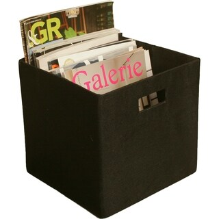 Cube Collapsible Tote, Black Canvas