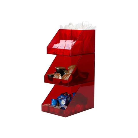 Mind Reader 'Fancy' Acrylic 3 Tier Coffee/Tea Condiment Organizer, Red