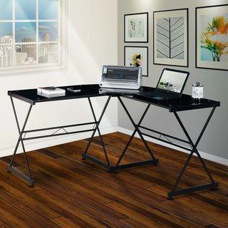 Urban Designs L-Shape Tempered Glass Computer Desk