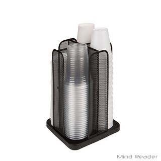 Mind Reader Cup and Lid Carousel Holder Organizer, Black Metal Mesh